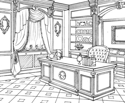 Cabinet In Classic Interior Design Coloring Page