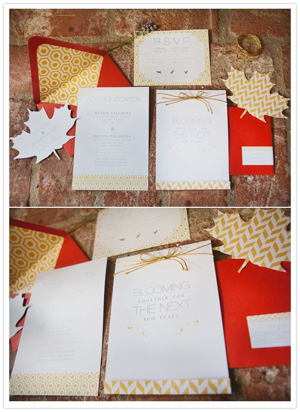 Cute wedding invitations for a fall wedding. Complete with yellow chevron leaves.