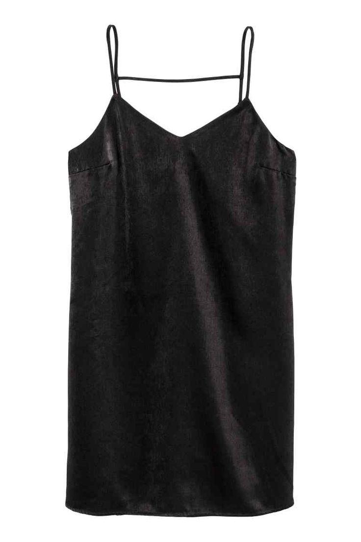 Satin dress - Black - Ladies | H&M GB