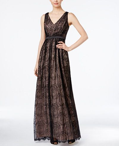Adrianna Papell Sleeveless Lace V-Neck Gown