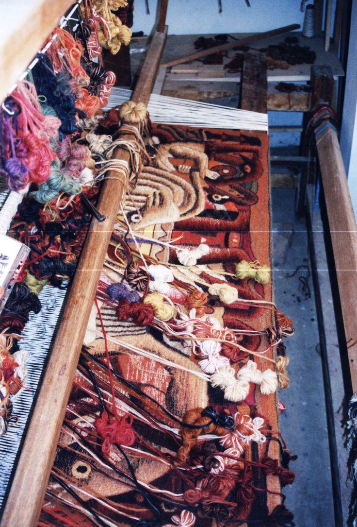 Work in Progress. Laura Tapestry Workshop. Maximo Laura Tapestry Studio in Lima. Handwoven Tapestry.  #MuseoMaximoLaura #LauraTapestryWorkshop #TapestryArt #Tejidos #PerúTextiles #TapestryWeaving #Lima #Perú