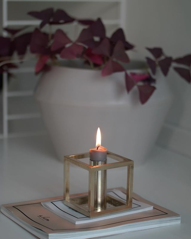 Rimm flowerpot in cool grey and Kubus 1 candleholder in brass. Photo by @ssevjen