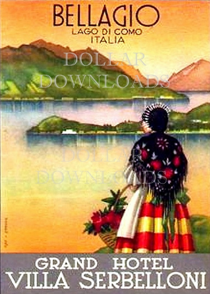 Italy Lake Como Villa Serbelloni Luggage Label Digital Image Download No. 4759 Buy 3 Images and Get 2 Free. $1.00, via Etsy.