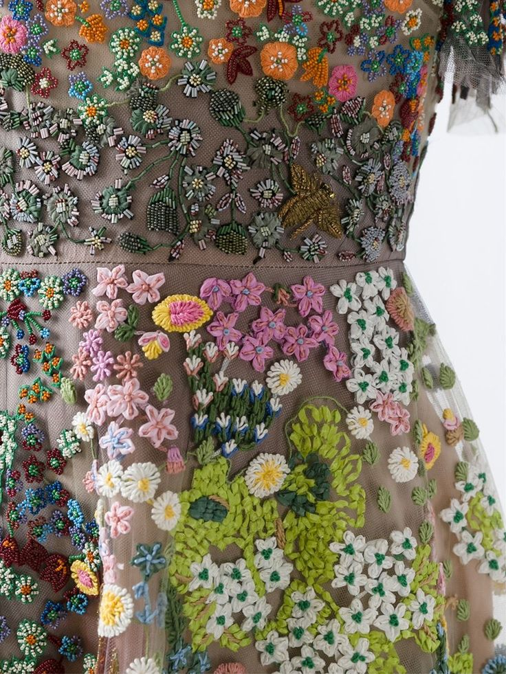 Valentino floral embroidered dress fabric couture beaded embellishments fashion inspiration for spring summer.