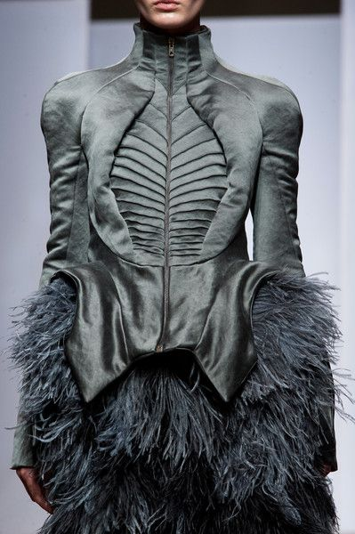 Skeletal jacket with elegant fabrics, patterns & feather textures; fashion design details // Yiqing Yin