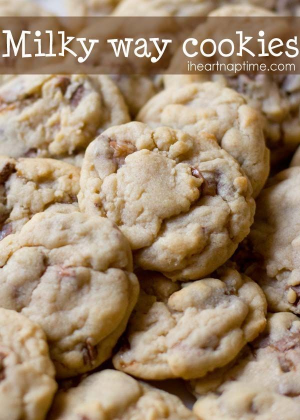 Super soft chocolate and caramel milky way cookies on iheartnaptime.com ...These will literally melt in your mouth.  #recipes