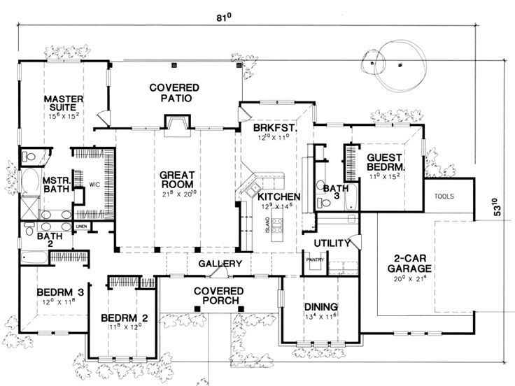 One Story Style House Plan 67747 With 4 Bed 3 Bath 2 Car