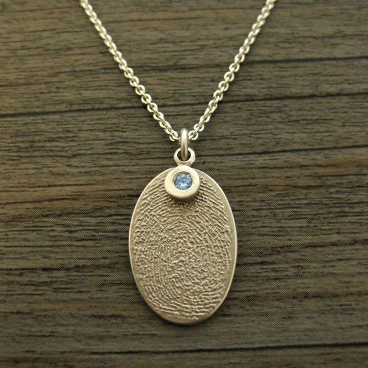 Flat Fingerprint and Aquamarine Birthstone Necklace.