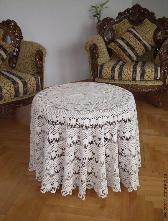 Купить Скатерть вязаная винтажная круглая цвет слоновой кости хлопок - цвет слоновой кости