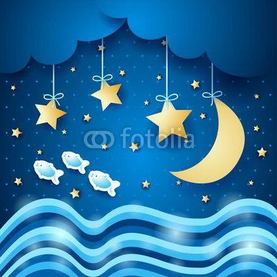 #Seascape #vector #nocturnal #stockimage