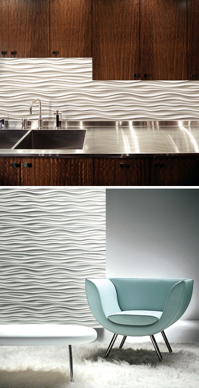 Wavy wall tiles. Continued from kitchen through to dining.