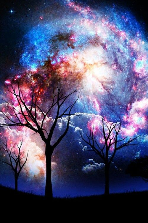 trees & galaxy, this would be a sick side tattoo