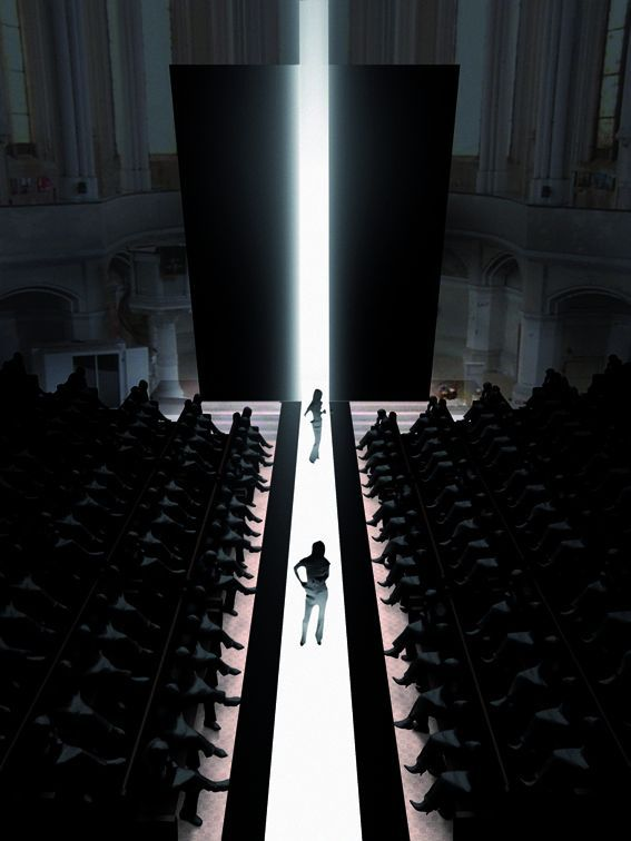 This is a very interesting fashionshow layout. Everything is dark, the only light is the runway which is made of LED lights. The only thing one can see is literally just the pieces of the collection. I'd showcase a films costumes this way for a sci-fi adventure movie.