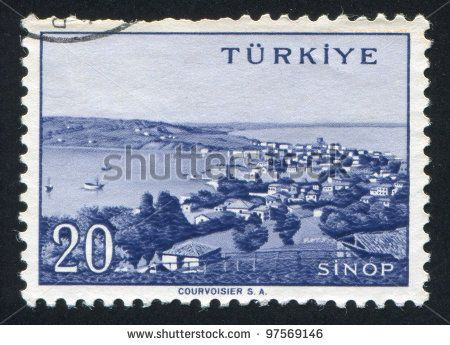 TURKEY - CIRCA 1959: stamp printed by Turkey, shows Turkish city, Sinop, circa 1959. - stock photo