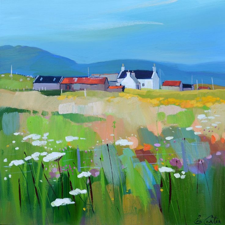 a farm cottage and a field, painting by Pam Carter