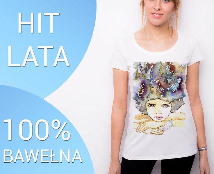 HIT BIAŁA koszulka z AKWARELĄ t-shirt damski DTG L