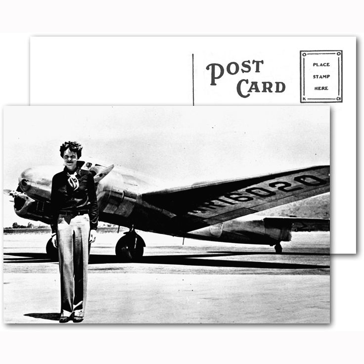 A unique postcard featuring the famous Pilot Amelia Earhart, makes a wonderful gift for the aviation enthusiast in your life. Our postcards are professionally printed on glossy card stock. The reverse