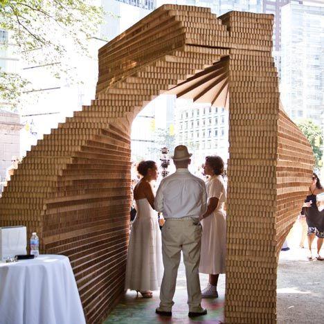 pop-up chapel made of cardboard