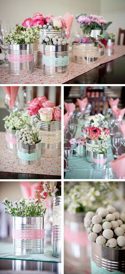 I Will Recycle Everything! Love The Silver Tins With Fresh Flowers In...  Recycled CansWedding Table DecorationsPastel ...