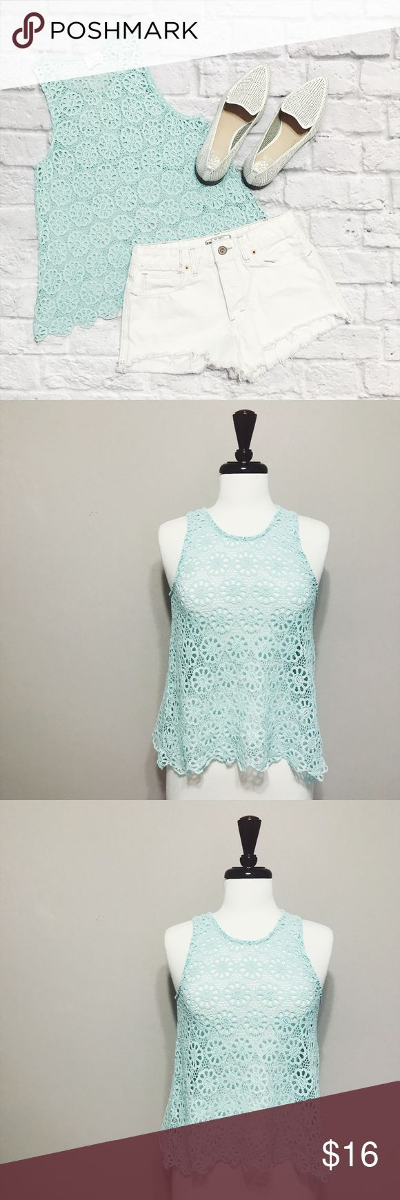 Urban Outfitters Pins and Needles Crochet Tank Top Urban Outfitters Pins and Needles Crochet Tank Top condition: GUC (good used condition) color: light blue fit: runs small see measurements other: N/A Urban Outfitters Tops Tank Tops
