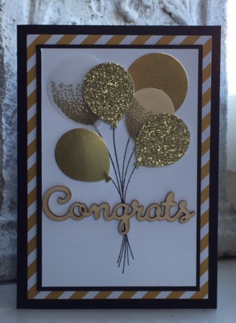 Stampin Up, Balloon Celebration, Balloon Bouquet Punch, Gold foil, Glimmer Paper Gold, White Vellum, Congrats