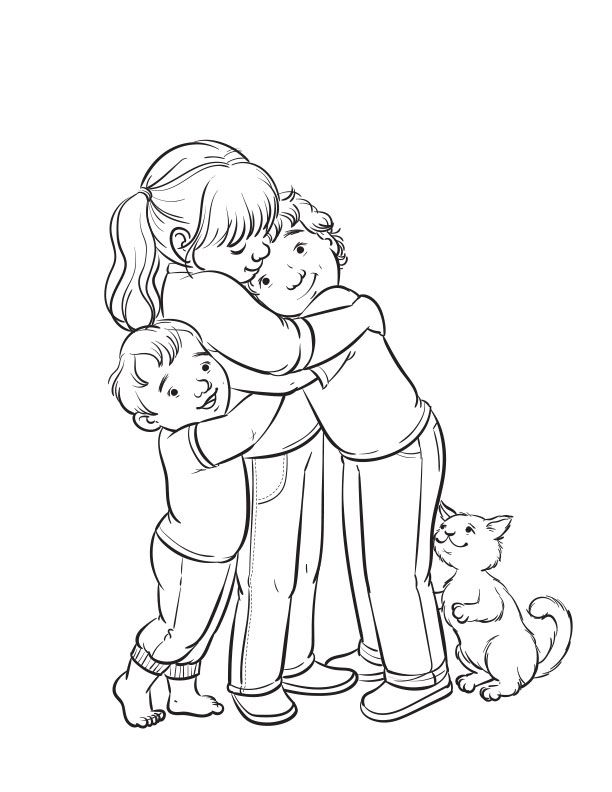 Hugging siblings coloring page for The Friend Magazine