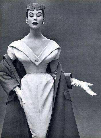 Elegant dinner dress and coat by Christian Dior, Paris 1953