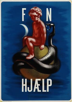 Lauritz.com - Grafik - Aage Sikker Hansen. Plakat. 'FN Hjælp', litografi, ca. 1950 - DK, Vejle, Dandyvej