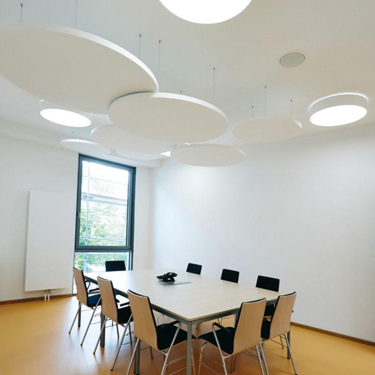 Design Deckensegel rund Inwerk | für bessere Raumakustik | Farbe Weiß | Deckenabsorber | Schallabsorber | optimaler Schallschutz | Durchmesser 800 oder 1160mm | Steinwolle | glatte Oberfläche