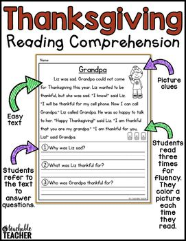 The Engaging Stories And Reading Comprehension Questions Will Entertain Students For Morning Work Homework Small Groups Or Independent Thanksgiving