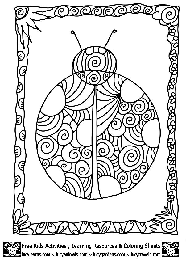 detailed ladybug coloring pagelucy learns detailed coloring pages of ladybugs