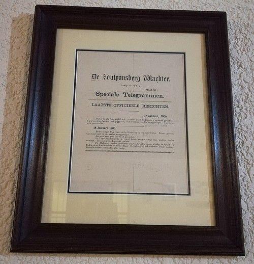 Rare & Original Framed Boer War Special Telegram from De Zoutpansberg Waghter