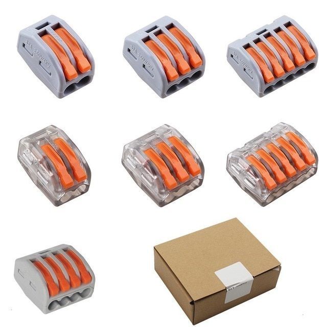100 Wago Compact Push Wire Connectors for Junction Boxes 2 Conductor White