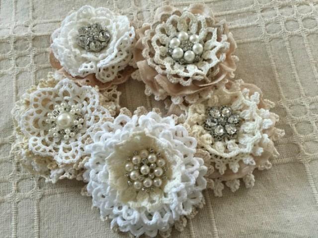 5 shabby chic vintage lace handmade flowers I made these flower lace with vintage cotton lace