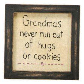 Sampler - Grandmas Hugs & Cookies - Country Rustic Primitive Framed Stitchery $14.99