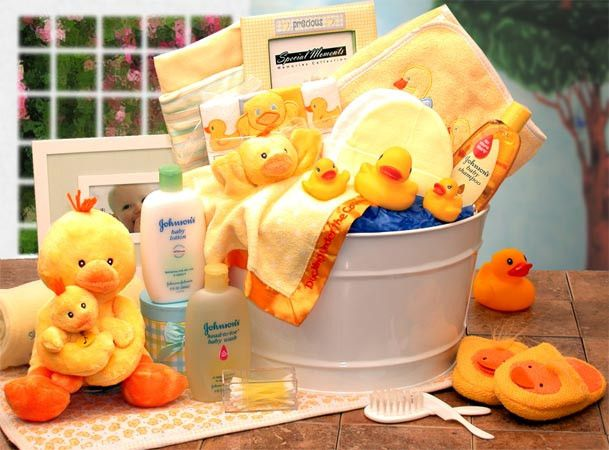 Fun Bath Time Baby Gift Basket -- Let the baby experience the fun in taking bath. Lots of ducks that will surely make him take the first dip.