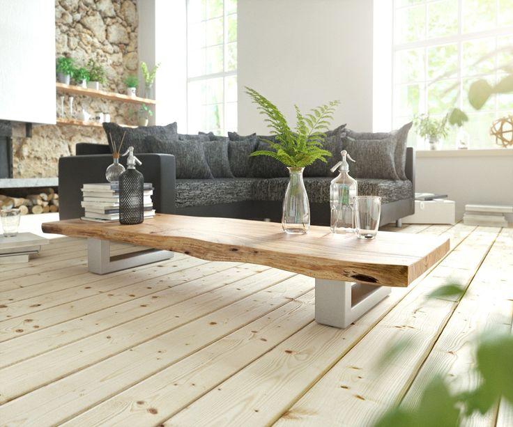 Couchtisch Live Edge 165x60 Akazie Natur Kufengestell Wohnzimmertisch HolzHolz Und MetallSucheDesign