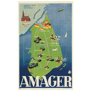 Plakat, Amager 1948, inkl. ramme