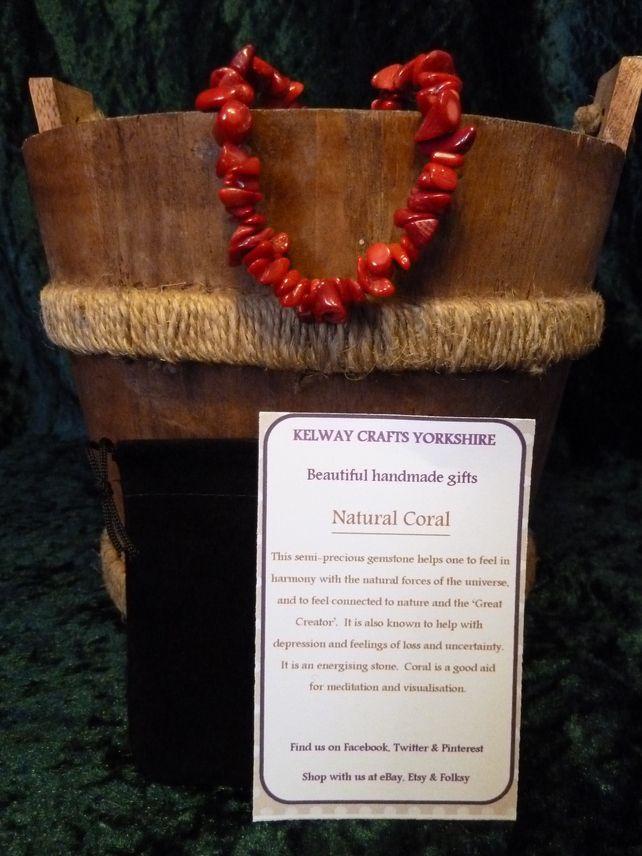 Natural Coral bracelet precious stone gemstone meanings stretch bracelet  £9.99