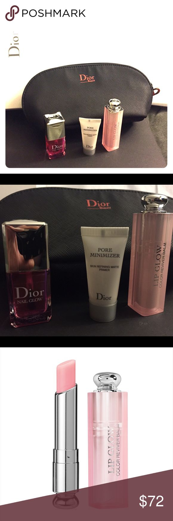 Dior Glow Holiday Gift Set - Lip Glow & Nail Glow A holiday set featuring Dior Glow products for radiant, allover beauty looks.  Packed in a sleek black makeup travel bag. Comes in gift-ready box! Dior Addict Lip Glow enhances the lips and brings out their natural color. Treat nails to Nail Glow, a brightening treatment, nail care enamel that creates the look of a French mani in just one coat.  - 0.12 oz/ 3.4 g Dior Addict Lip Glow in 001 Pink (full size)  - 0.33 oz/ 10 mL Nail Glow (full…