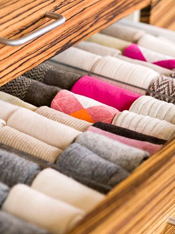 Never Lose a Sock Again.   Drawer organizers make it easy to keep accessories neatly organized and quick to find when needed. Think socks, lingerie, gloves, and belts—the latter of which should be coiled for most efficient storage.  Can we find furniture with more narrow drawers for this type of storage?