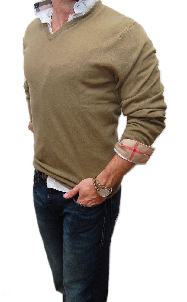 eBay  Sponsored Polo Ralph Lauren Mens V-Neck Cashmere Pullover Sweater  Khaki Beige Tan Brown XL 73cc662c15c