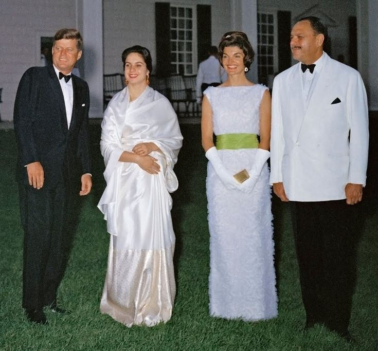 President and Mrs. Kennedy with the President of Pakistan, Mohammed Ayub Khan and his wife - at a State Dinner hosted on the lawn of Mt. Vernon.