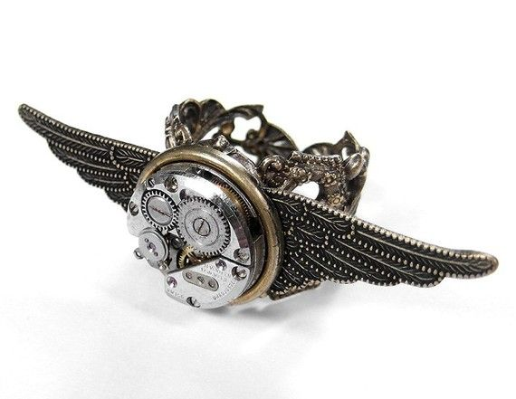 Steampunk Ring - Vintage Ruby Jewel Watch on TEXTURED WINGS on Adjustable Brass Ring - Steampunk Jewelry by edmdesigns