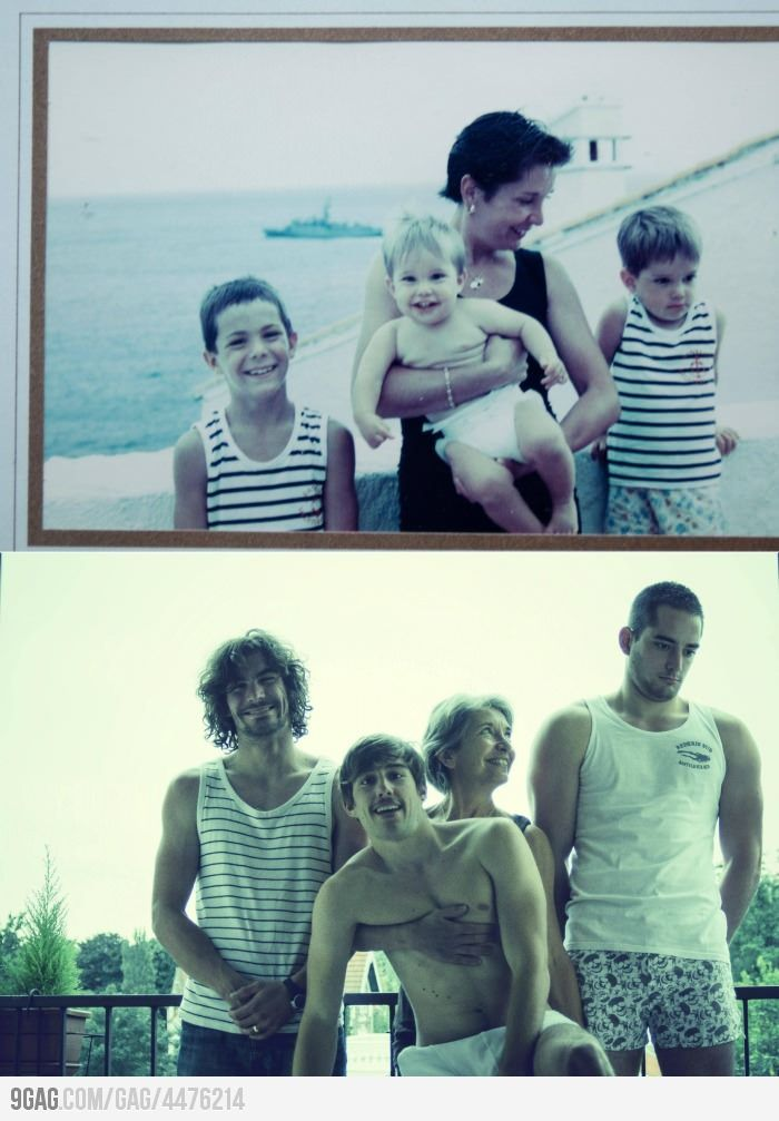 recreating old family photos...soooo cute! We've done this with children professional pictures...took one when they were little and one when they were much older sitting in the same places as the first.  It's great to see how they've changed.  I want to start doing it on a yearly basis for the grandkids!
