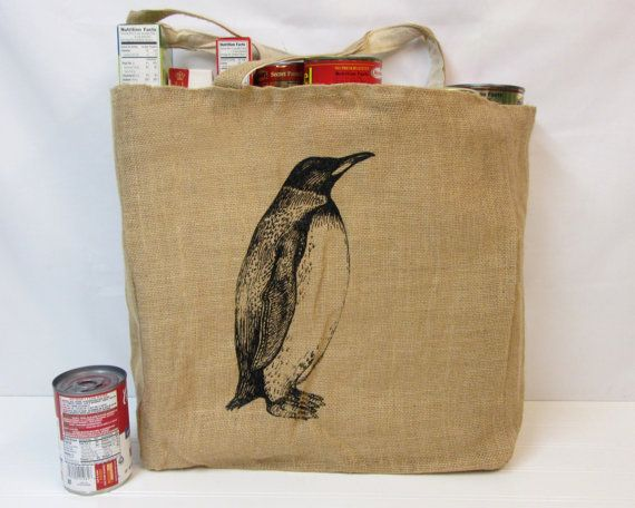 Penguin Tote Bag Jute Tote Bag Cotton Tote by FrumpyWear on Etsy, $9.00