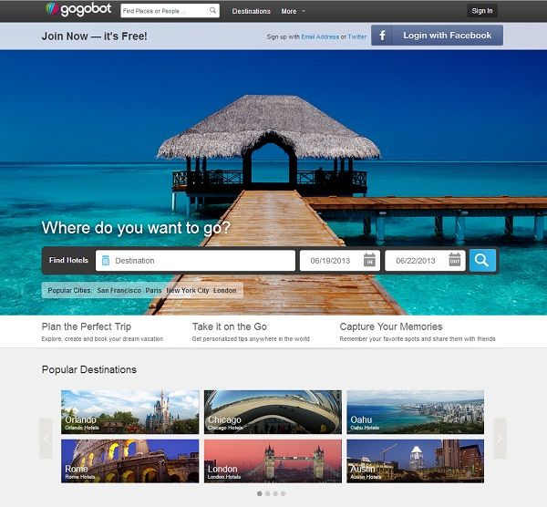 gogobot.com has a nice and direct entry page to your dream destination. Great use of imagery, too.