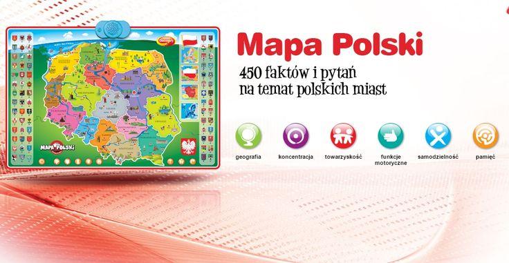 Interaktywna Mapa Polski zawiera 450 faktów i pytań na temat polskich miast. Zabawka przeznaczona dla dzieci od 6. roku życia.