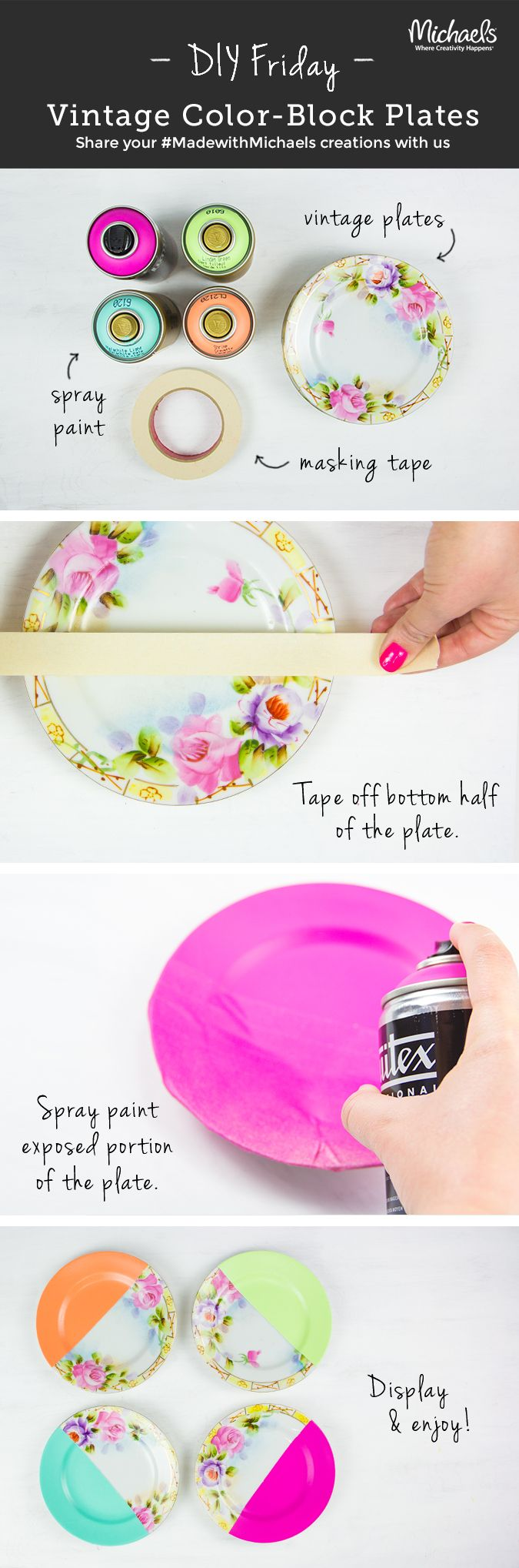 #DIYFriday Flea Market! Upcycle old plates with easy color blocking. Our tip: use rubbing alcohol to remove dirt and grease before dipping in paint.