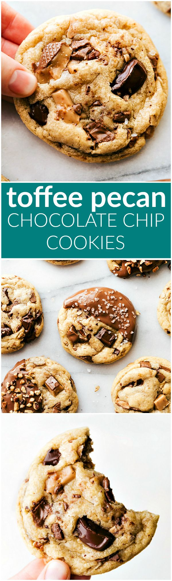 Delicious toffee and pecan stuffed chocolate-chip cookies dipped in melted milk chocolate. These toffee pecan cookies are soft & chewy with crisp edges! I chelseasmessyapron.com